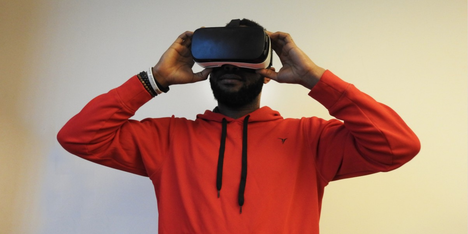 Black man in Virtual Reality Headset